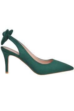 Top Secret green elegant shoes bow accessory slightly pointed toe tip