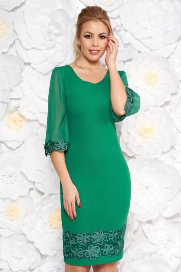Green elegant midi pencil dress with sequin embellished details slightly elastic fabric