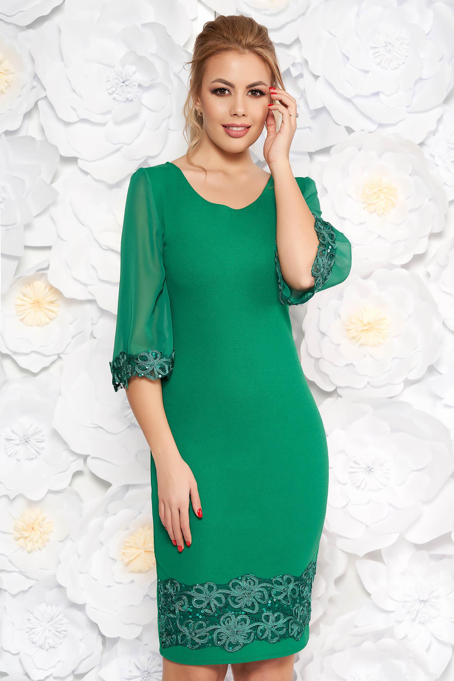Zöld elegáns midi ceruza ruha flitteres díszítés enyhén rugalmas anyag