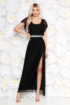 Black occasional long dress from tulle with butterfly sleeves cloche with bright details