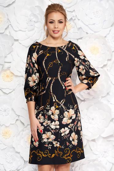 LaDonna darkblue elegant flared dress slightly elastic fabric with floral print