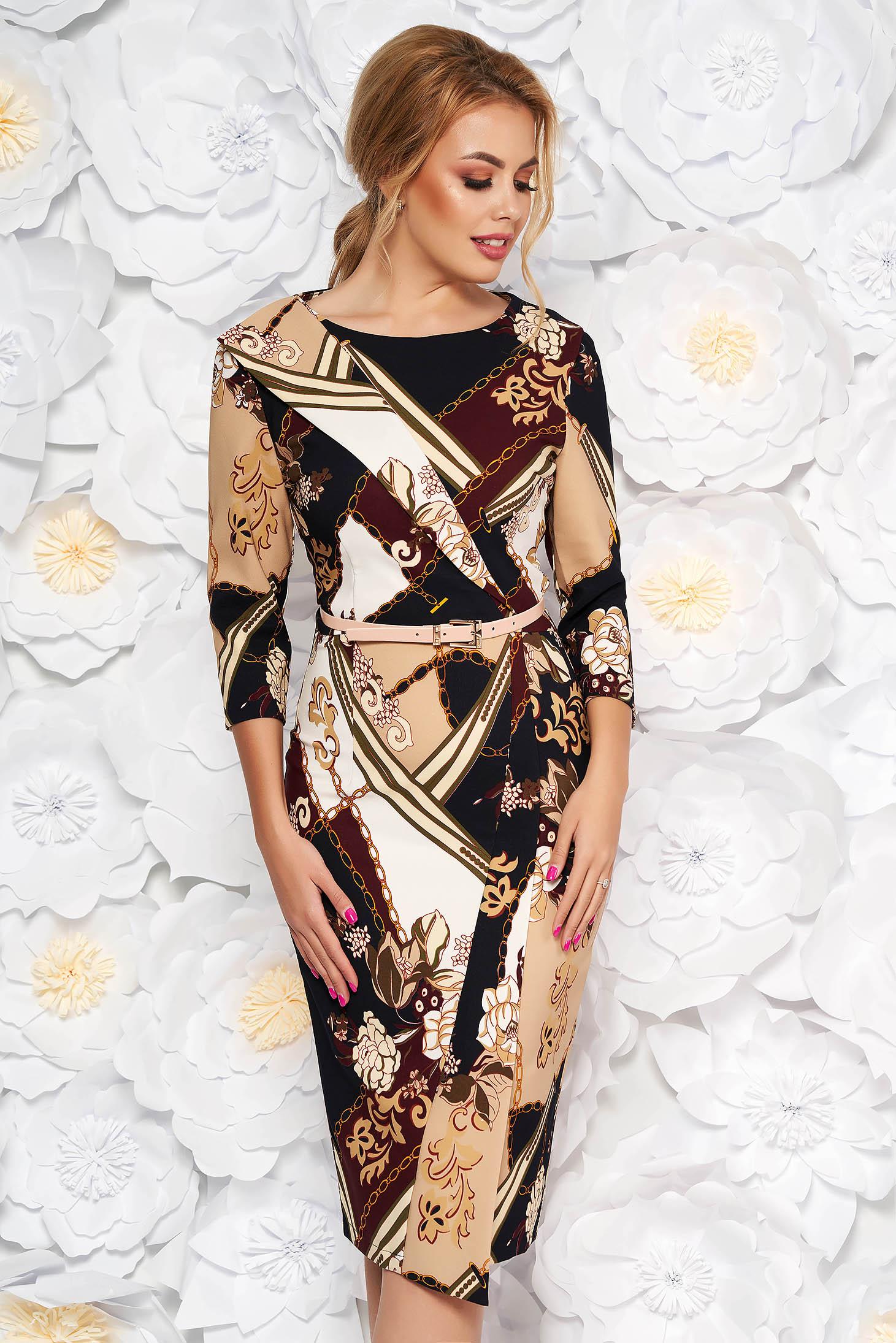 LaDonna cream office pencil dress slightly elastic fabric accessorized with belt