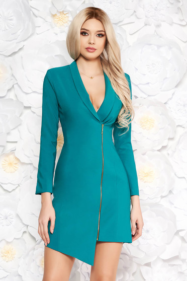 LaDonna turquoise elegant blazer type dress from non elastic fabric with inside lining long sleeved