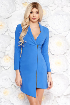LaDonna blue elegant blazer type dress from non elastic fabric with inside lining long sleeved