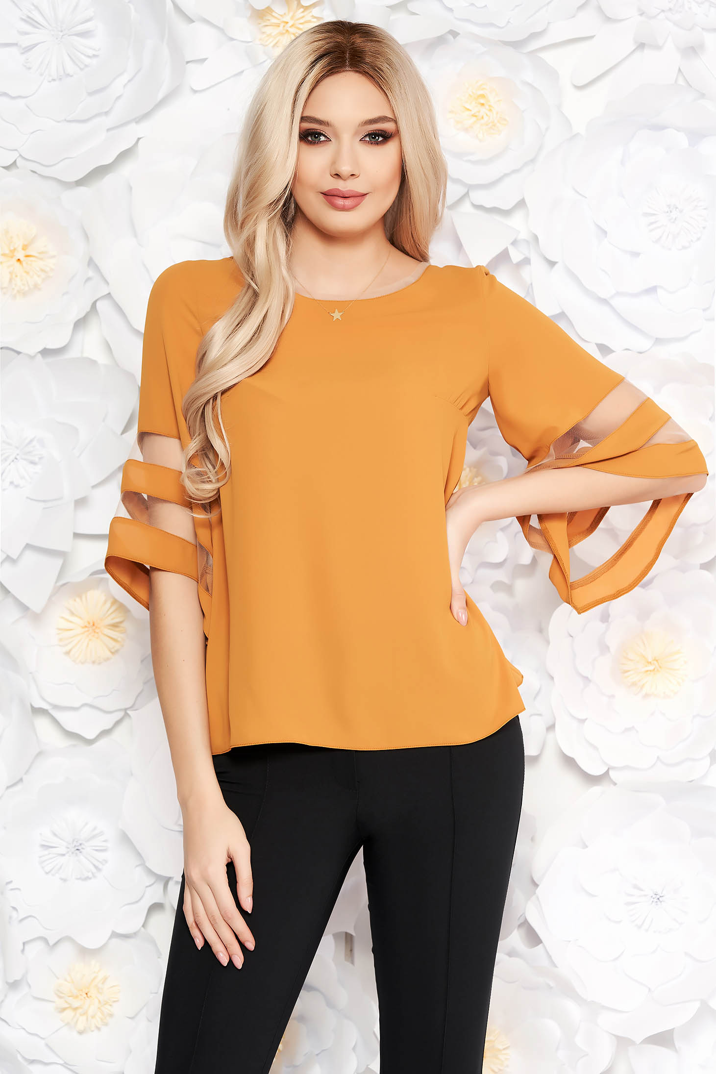 Mustard elegant flared women`s blouse airy fabric with bell sleeve