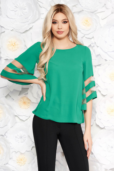 Green elegant flared women`s blouse airy fabric with bell sleeve