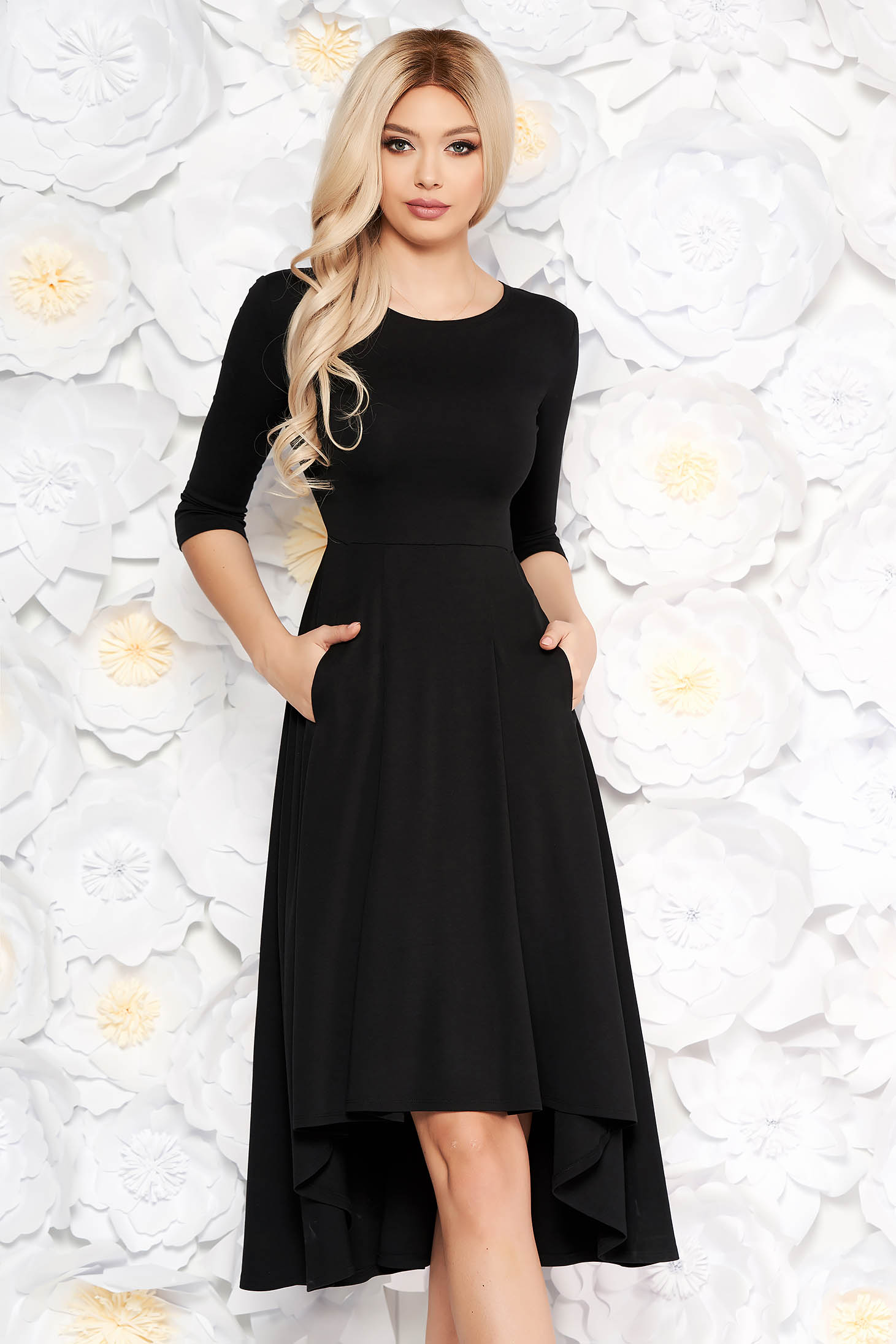Black asymmetrical office dress slightly elastic fabric with 3/4 sleeves