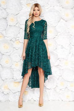 Darkgreen asymmetrical evening dresses dress from laced fabric with sequin embellished details with inside lining