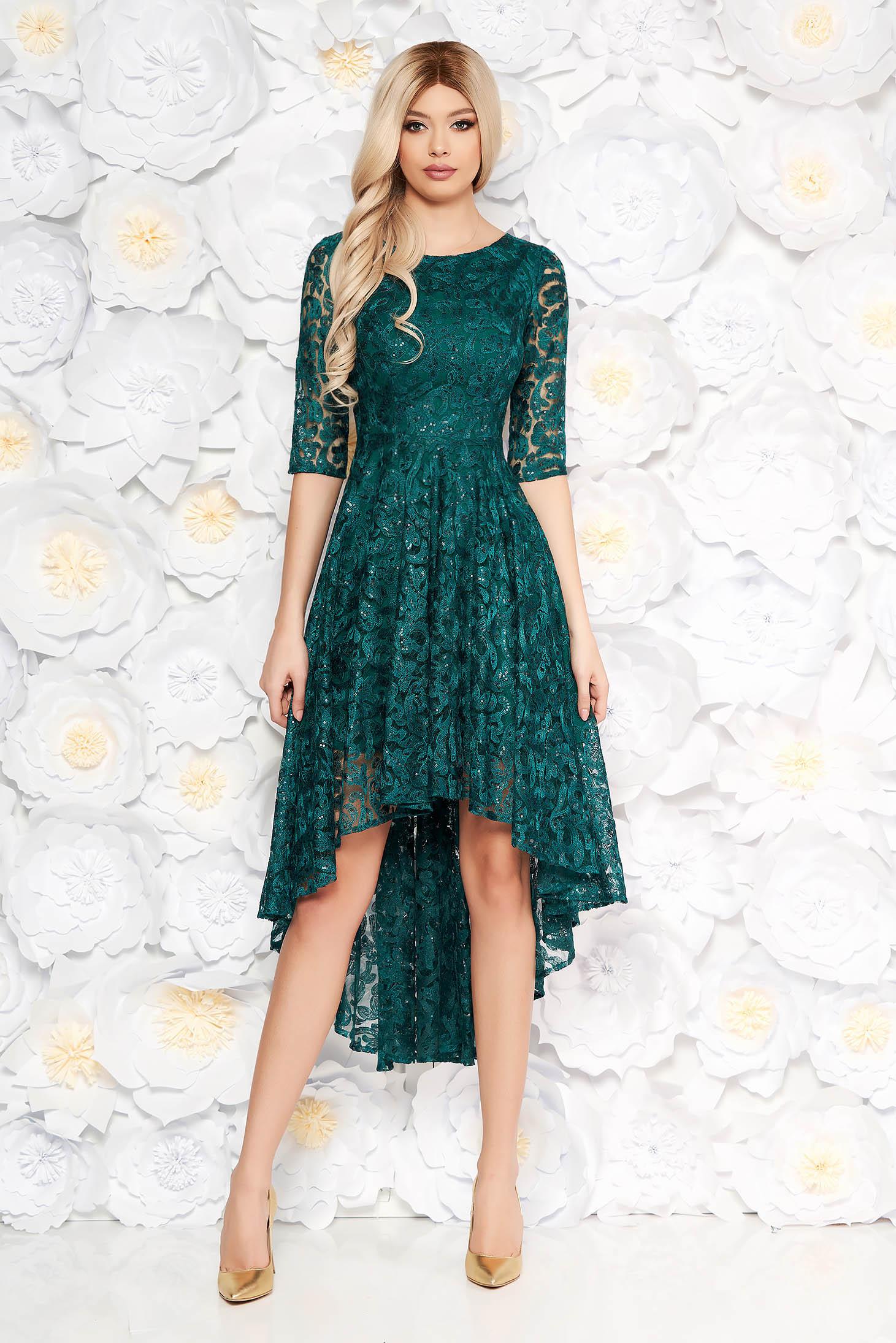 Rochie verde-inchis de seara asimetrica din dantela cu aplicatii cu paiete captusita pe interior