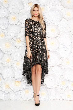 Black asymmetrical evening dress from laced fabric with sequin embellished details with inside lining