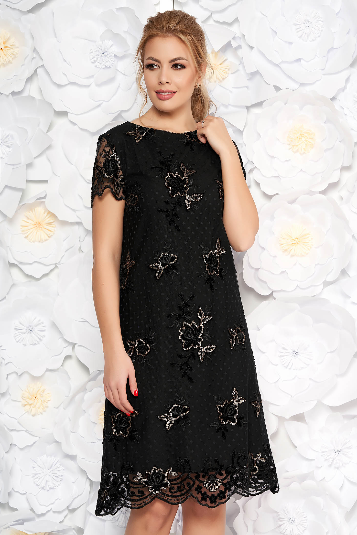 Black occasional flared dress from laced fabric with sequin embellished details with inside lining