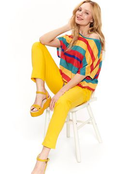 Top Secret yellow casual flared women`s blouse is fastened around the waist with a ribbon with stripes airy fabric