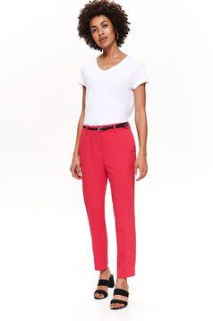 Top Secret darkpink elegant straight trousers with medium waist accessorized with belt slightly elastic fabric