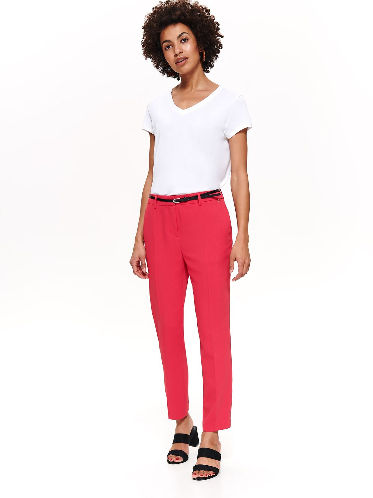 Top Secret darkpink elegant straight trousers with medium waist accessorized with belt slightly elastic fabric