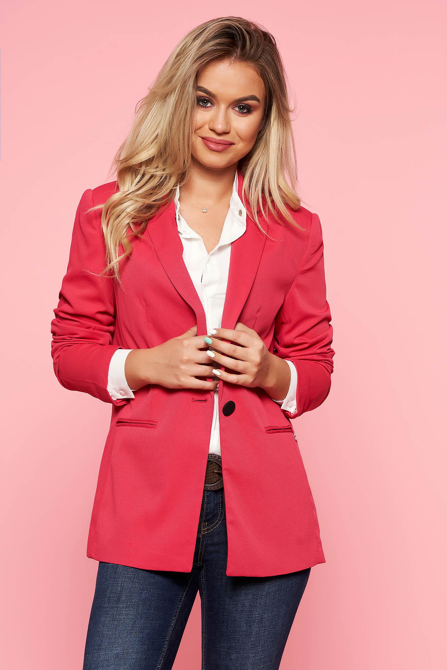 Sacou Top Secret roz-inchis office cambrat din material fin la atingere captusit pe interior