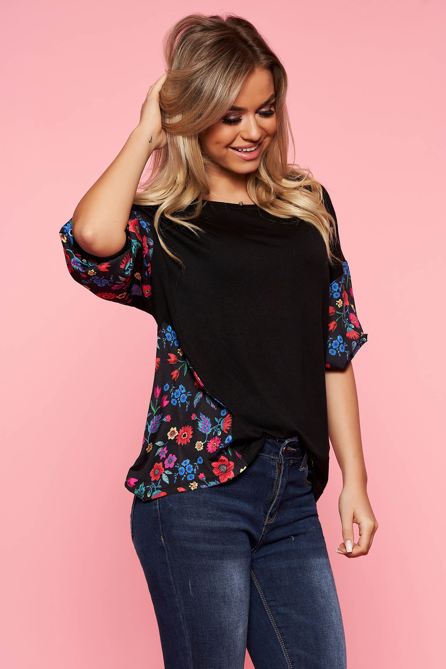 Top Secret black casual flared women`s blouse airy fabric with floral prints
