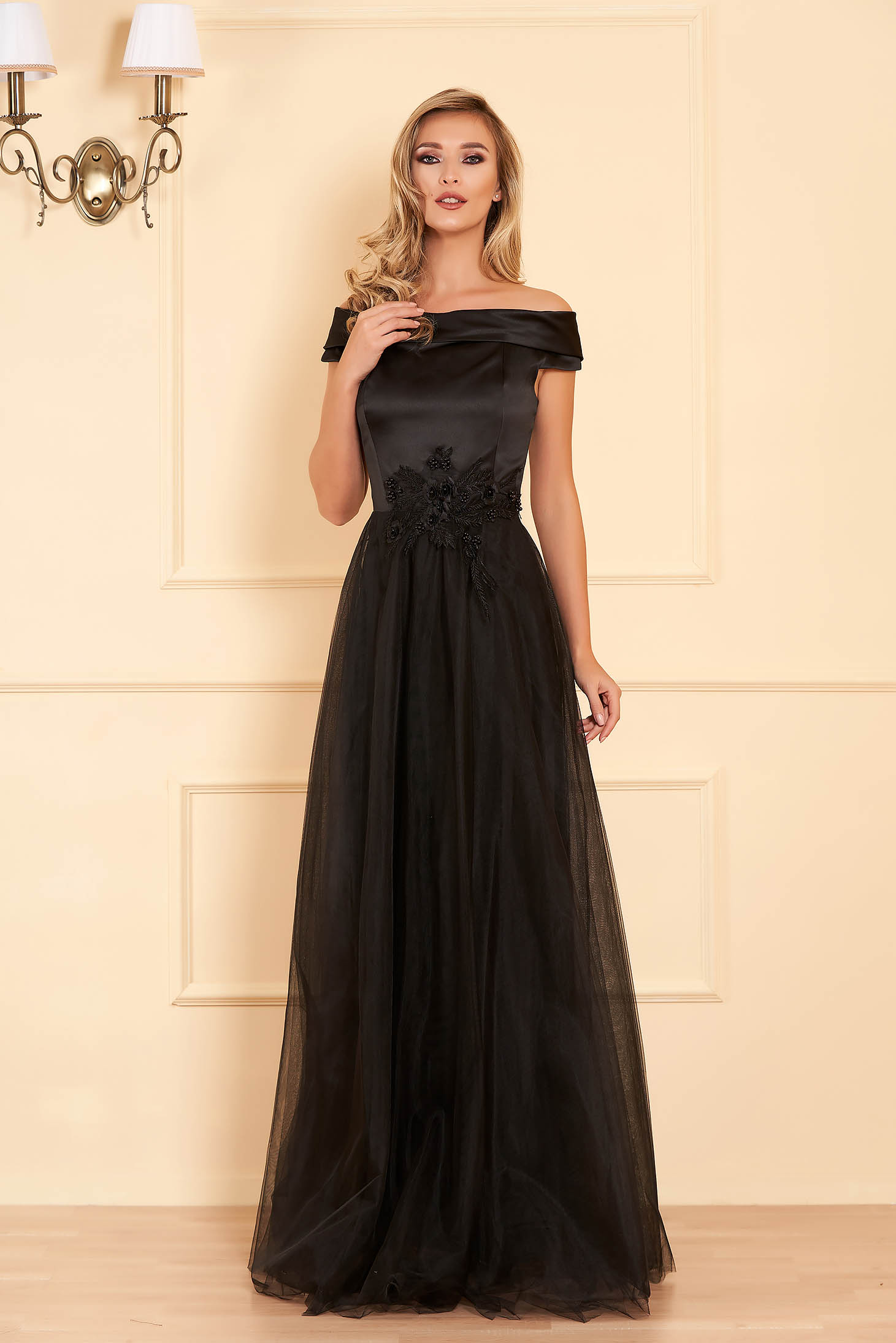 Artista black occasional dress from tulle and satin fabric texture with lace details with pearls with inside lining