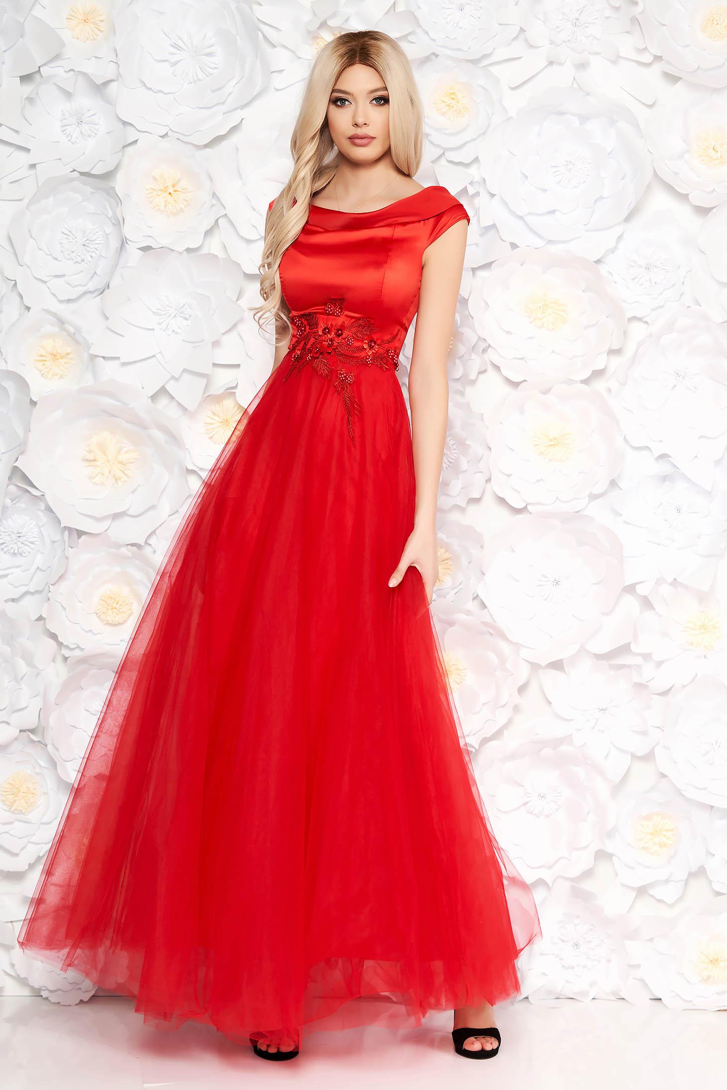 Rochie Artista rosie de ocazie din tul si material satinat cu aplicatii de dantela cu perle captusita pe interior