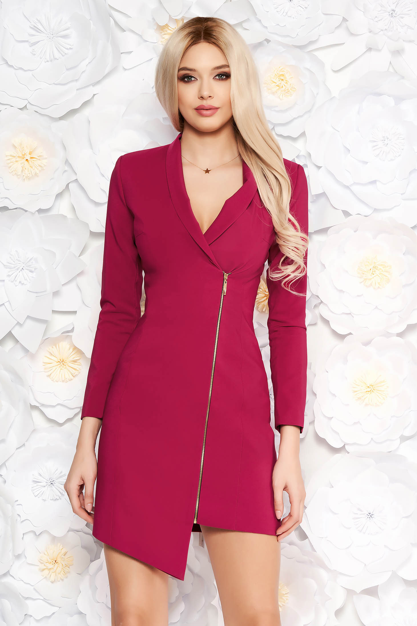 LaDonna fuchsia elegant blazer type dress from non elastic fabric with inside lining long sleeved