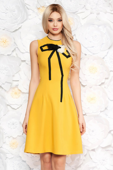 Artista mustard elegant cloche dress slightly elastic fabric handmade applications