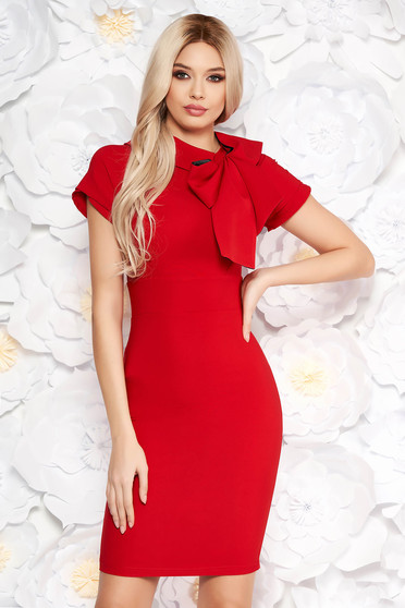 Artista red dress elegant pencil slightly elastic fabric bow accessory