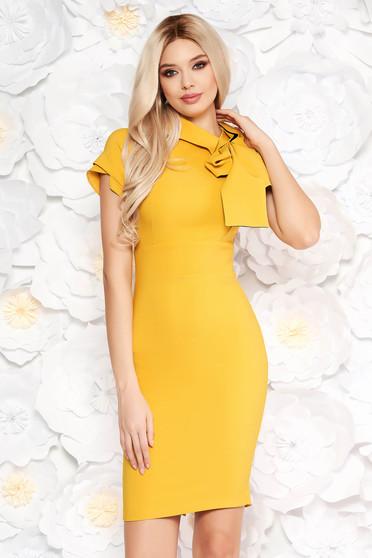 Artista mustard dress elegant pencil slightly elastic fabric bow accessory