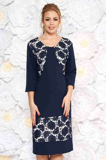 Darkblue dress elegant with straight cut slightly elastic fabric with lace details