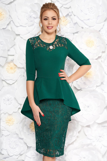 Green occasional pencil dress from laced fabric with frilled waist accessorized with tied waistband