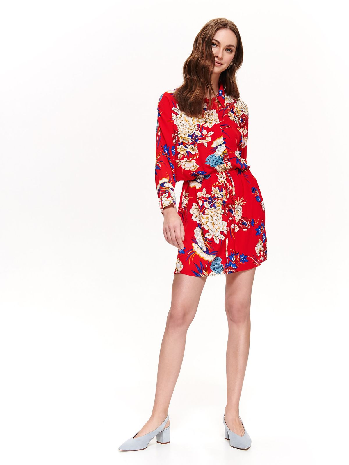 Top Secret red daily cloche dress long sleeve thin fabric with floral prints is fastened around the waist with a ribbon