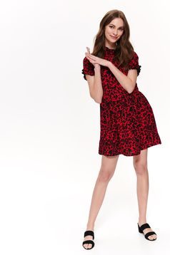 Top Secret red daily cloche dress short sleeves thin fabric