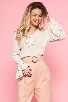 SunShine cream women`s blouse casual flared slightly elastic fabric bell sleeves