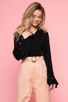 SunShine black women`s blouse casual flared slightly elastic fabric bell sleeves