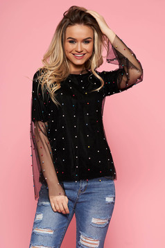 SunShine black women`s blouse casual flared from tulle with inside lining with small beads embellished details