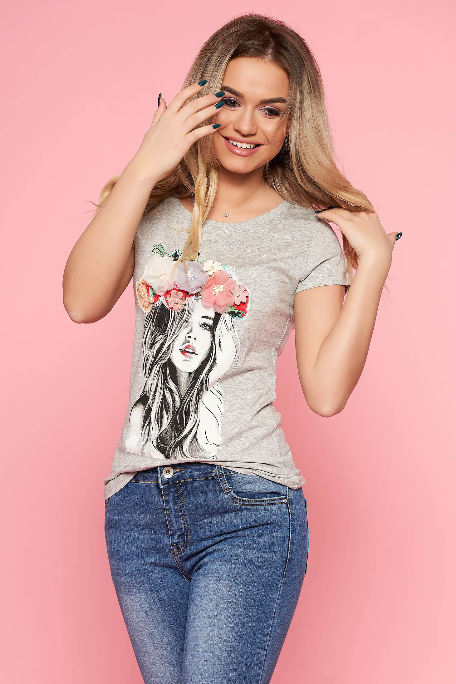 SunShine grey t-shirt casual slightly elastic cotton with tented cut with floral details with 3d effect