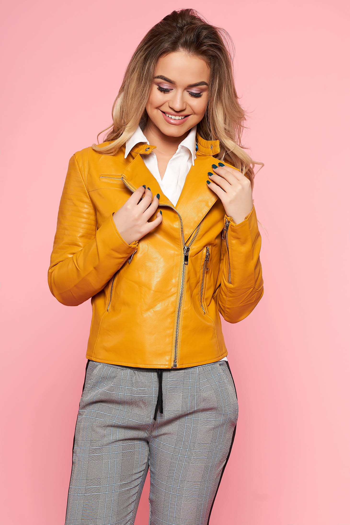 SunShine mustard casual jacket from ecological leather with inside lining with zipper details pockets