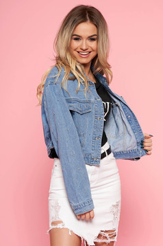 SunShine blue jacket casual denim with crystal embellished details short cut with front pockets