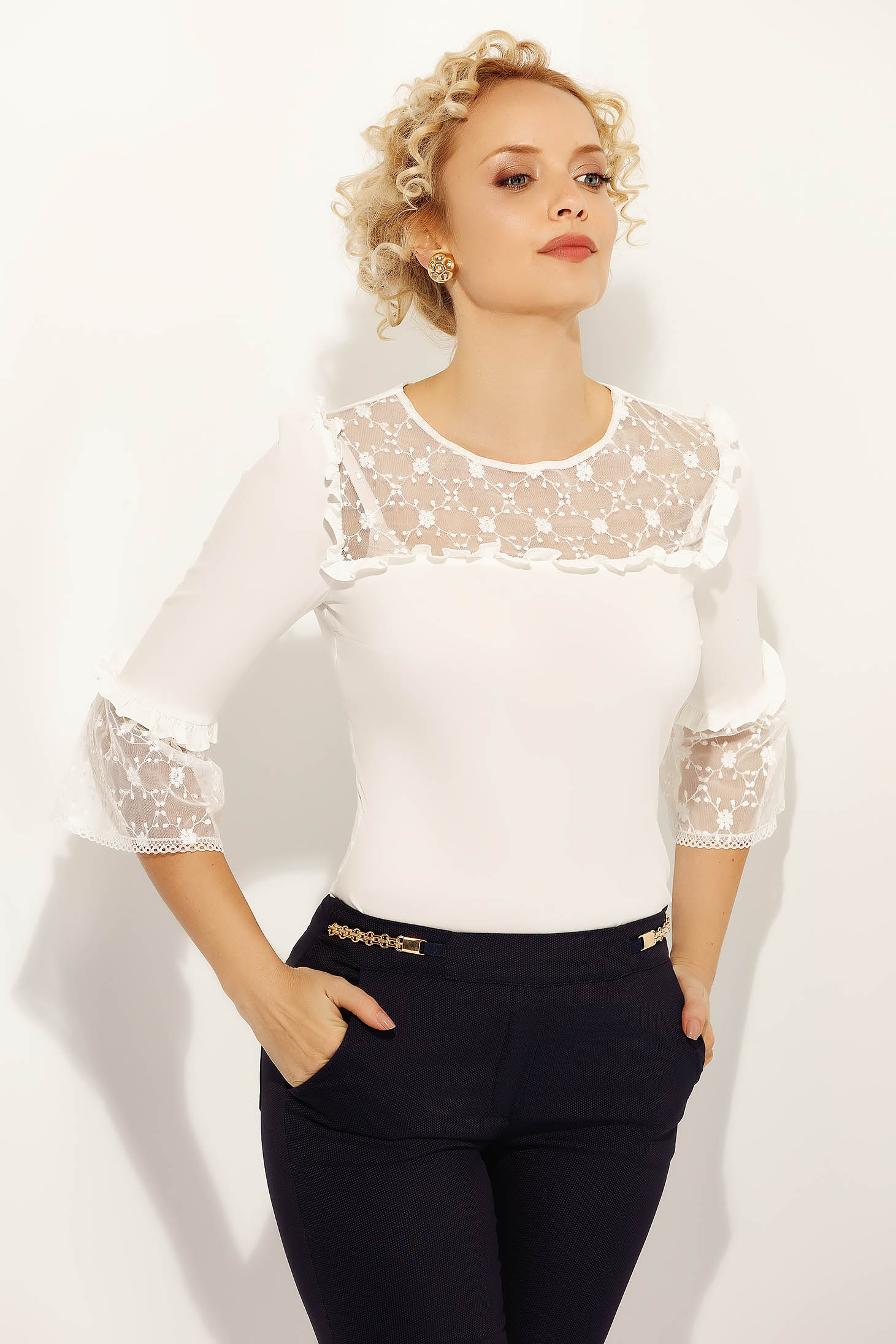 Fofy white elegant women`s shirt with tented cut slightly elastic cotton with lace details