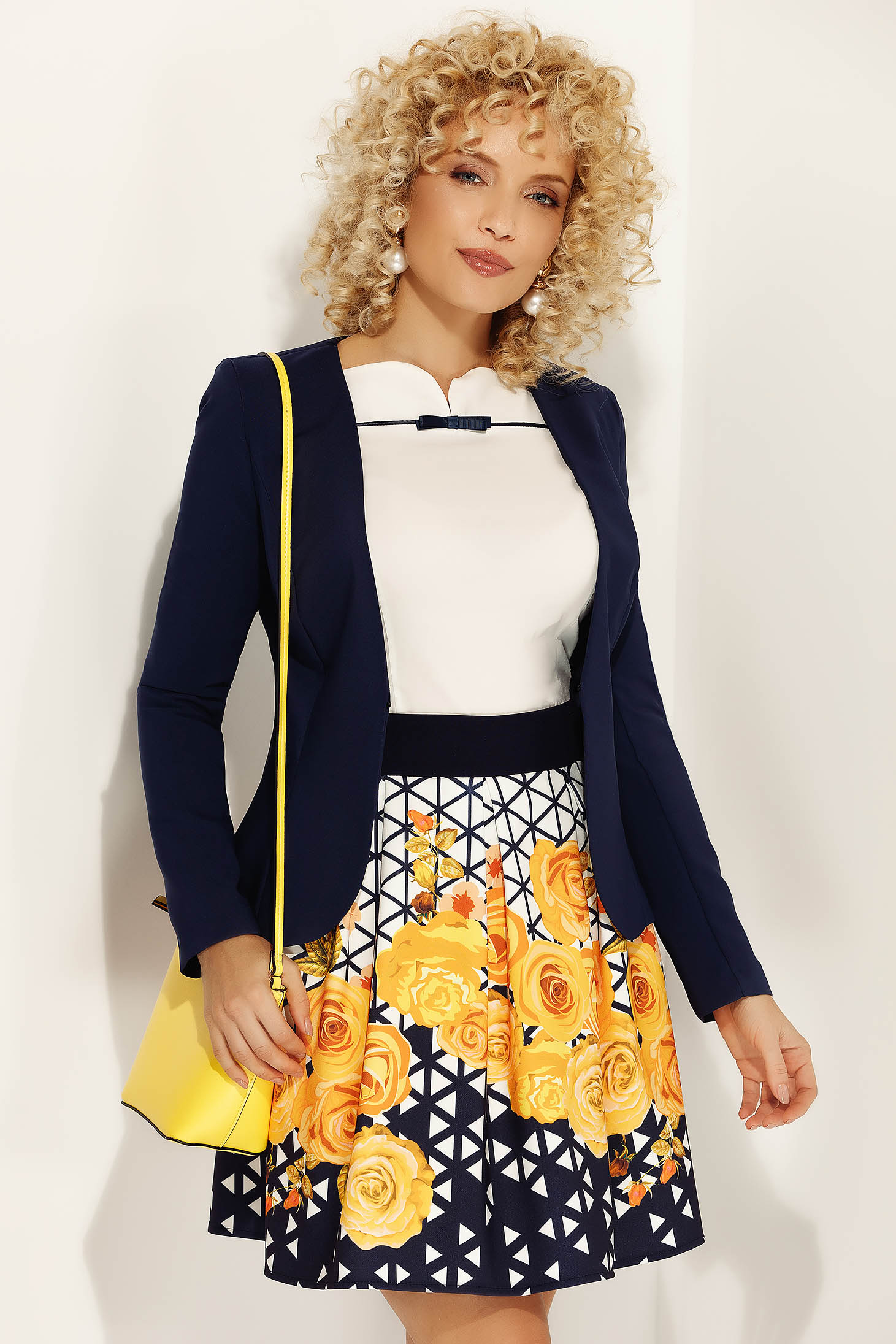 Fofy mustard office cloche skirt from elastic and fine fabric high waisted with floral prints