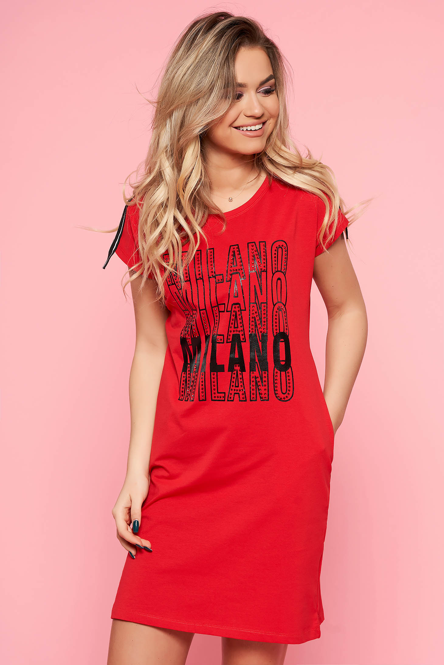 SunShine red casual flared dress slightly elastic cotton with writing print