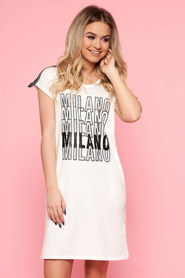 SunShine white casual flared dress slightly elastic cotton with writing print