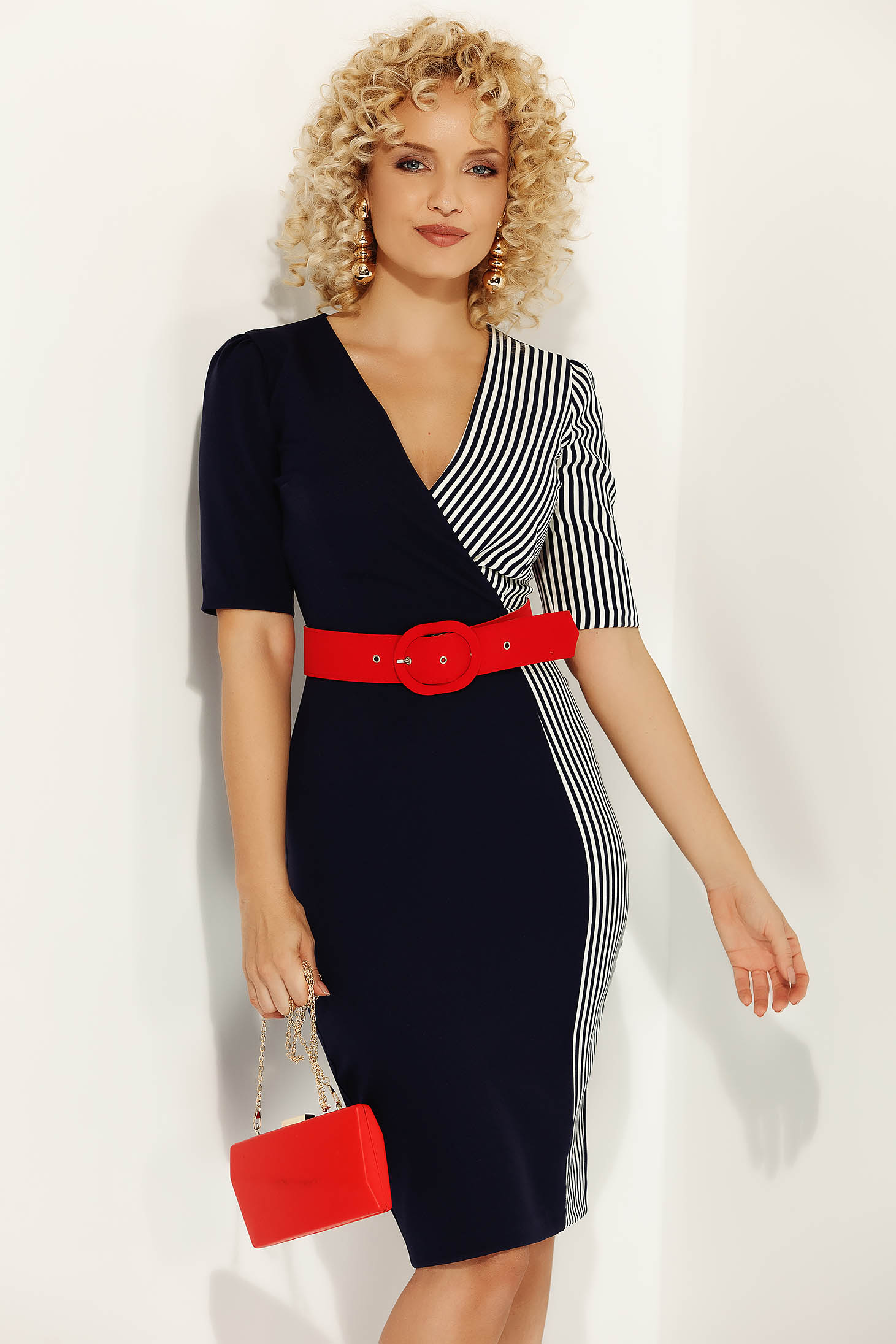 Fofy darkblue office midi dress slightly elastic fabric with tented cut accessorized with belt