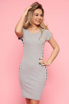SunShine darkgrey dress casual with tented cut slightly elastic cotton