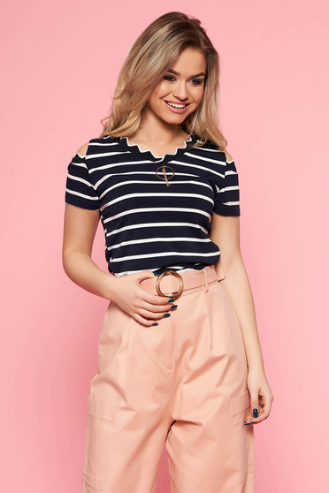 SunShine darkblue women`s blouse casual with tented cut slightly elastic fabric with stripes both shoulders cut out