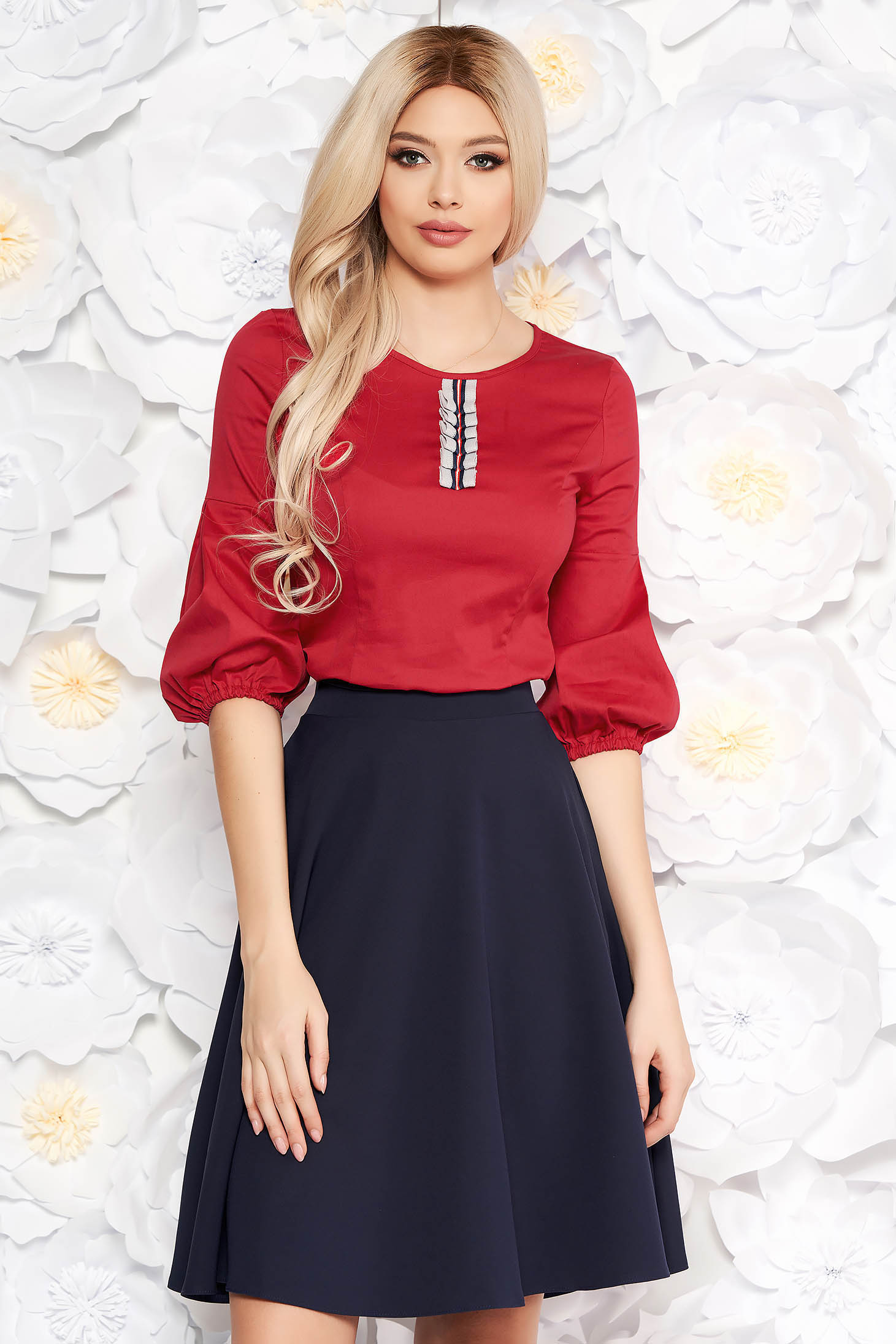 StarShinerS red women`s blouse with tented cut thin fabric with puffed sleeves office