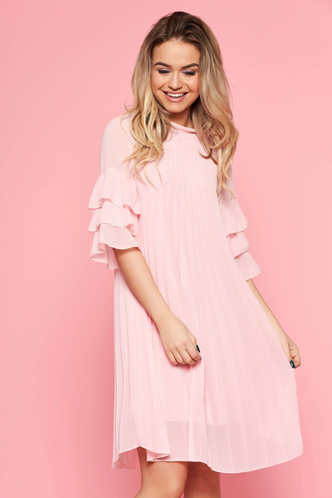SunShine lightpink dress casual flared from veil fabric folded up with inside lining with ruffled sleeves