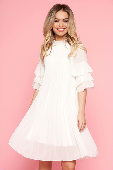 SunShine white dress casual flared from veil fabric folded up with inside lining with ruffled sleeves