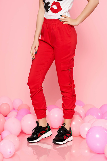 SunShine red trousers with elastic waist with medium waist with pockets casual
