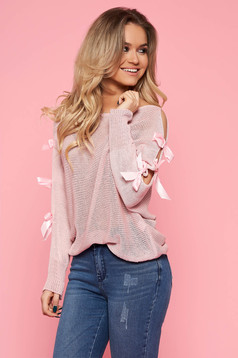 SunShine lightpink casual flared women`s blouse long sleeve cotton knitted