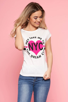 SunShine white t-shirt with writing print with tented cut slightly elastic cotton