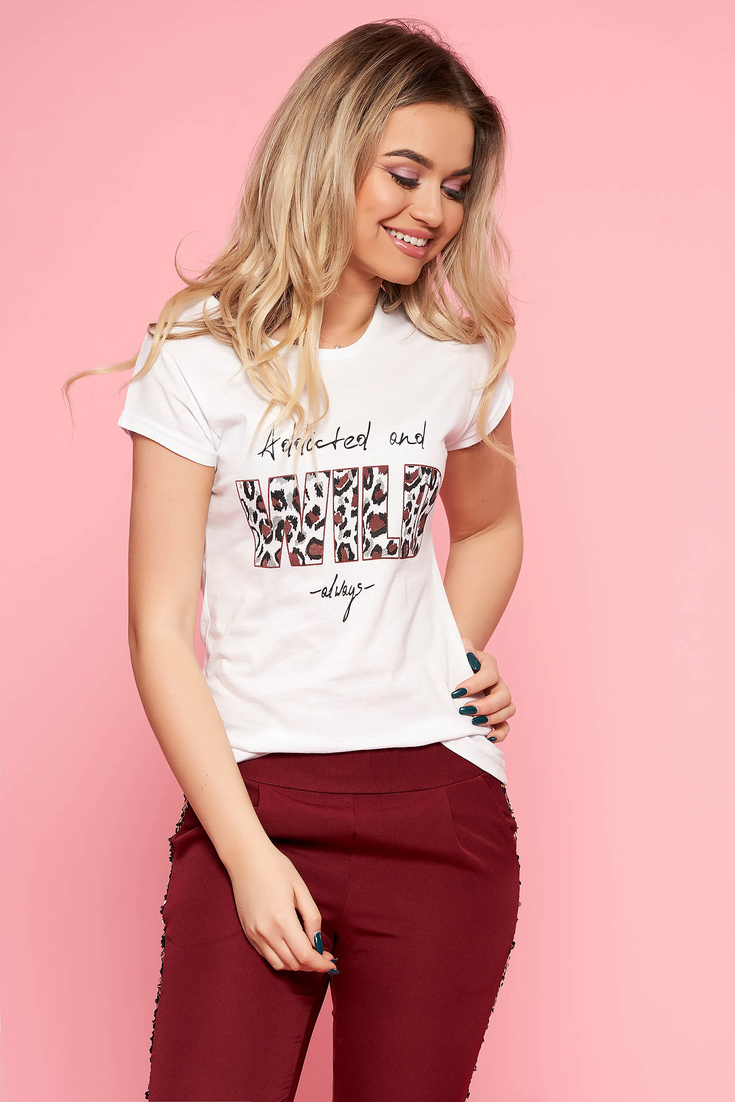 SunShine white t-shirt with leo print slightly elastic cotton casual